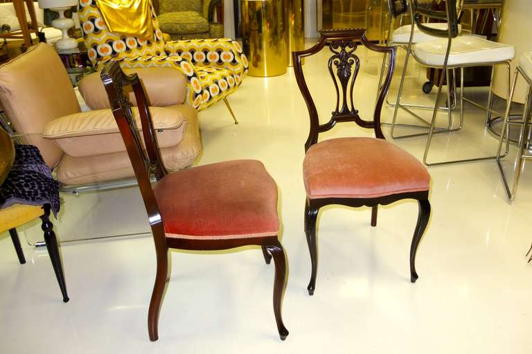 Pair of Petite Mahogany Salon Chairs For Sale 1