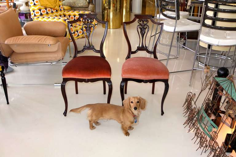 Pair of Petite Mahogany Salon Chairs For Sale 4