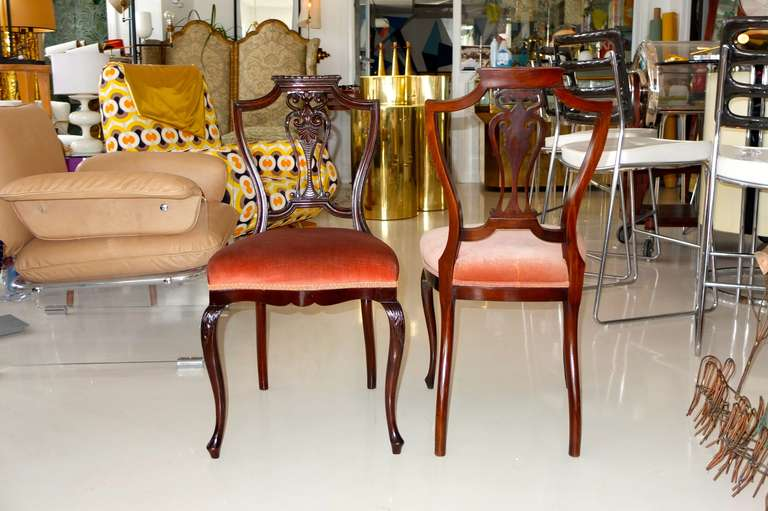 Pair of Petite Mahogany Salon Chairs In Excellent Condition For Sale In Hingham, MA