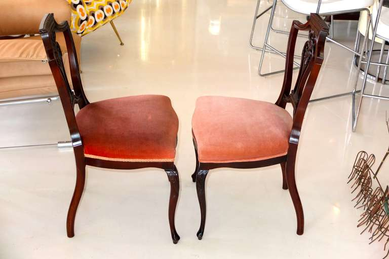 Pair of Petite Mahogany Salon Chairs For Sale 3