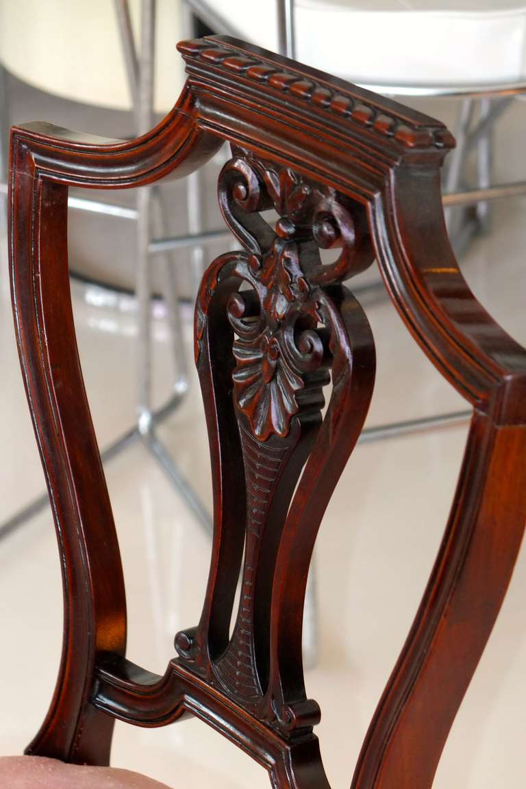 20th Century Pair of Petite Mahogany Salon Chairs For Sale