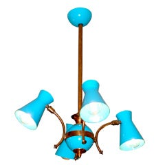 French 1950's Four Arm Chandelier in Copper & Turquoise Aluminum