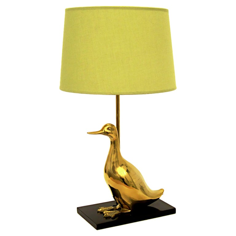 Vintage Brass Duckling Table Lamp For Sale