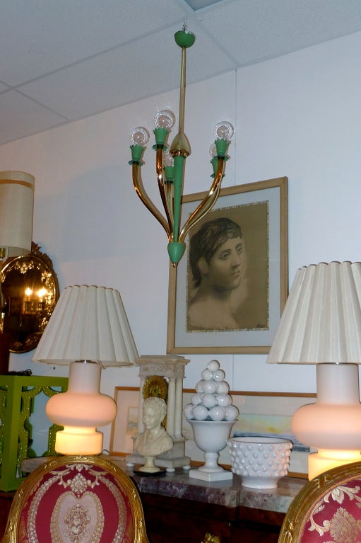 Brass Italian Hanging Fixture Attributed to Guglielmo Ulrich For Sale
