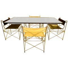 1970's Pace Collection Chrome Scaffold Dining Table & Chairs