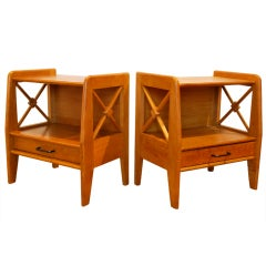 Pair of 1940's French Nightstands by Jacques Adnet