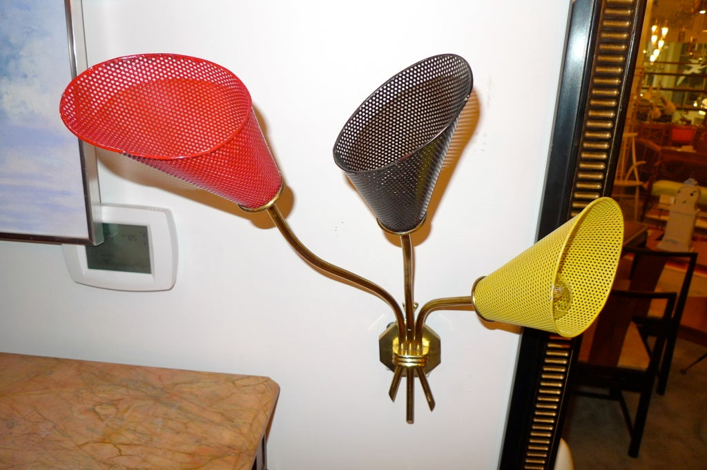 French 1950 s Perforated Metal Trumpet Lily Wall Light For Sale at 1stdibs