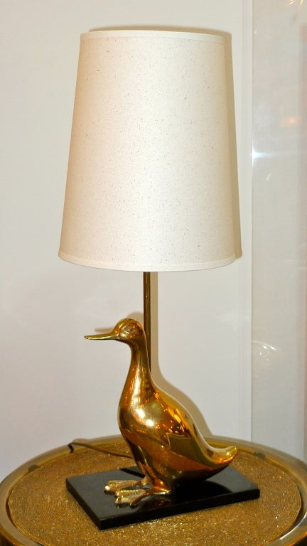 Mid-20th Century Vintage Brass Duckling Table Lamp For Sale