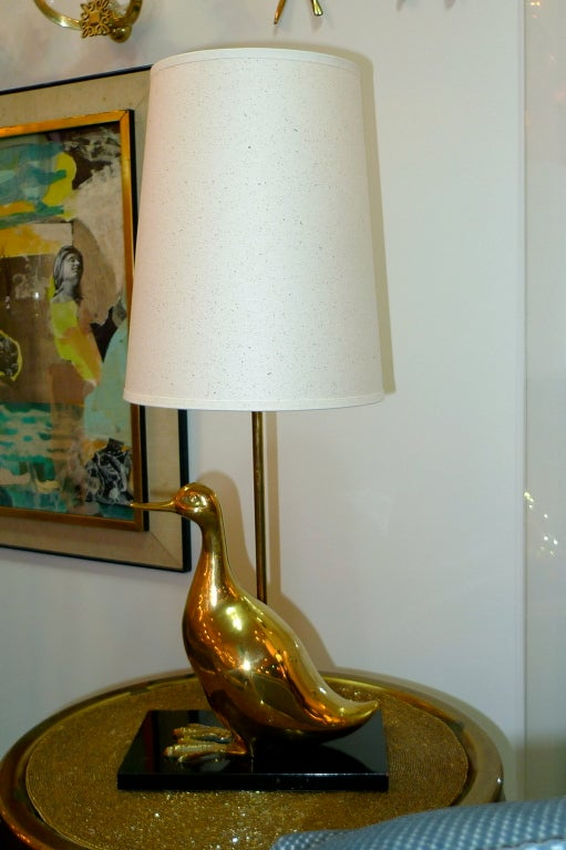 Vintage Brass Duckling Table Lamp For Sale 2