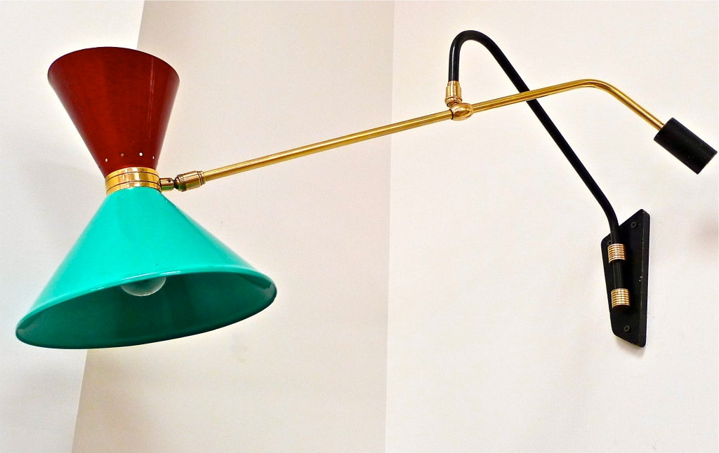 1950's French Swing Arm Sconce by Pierre Guariche For Sale 5