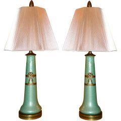 Pair of French Ormolu-Mounted Celadon Enamel Vases as Lamps