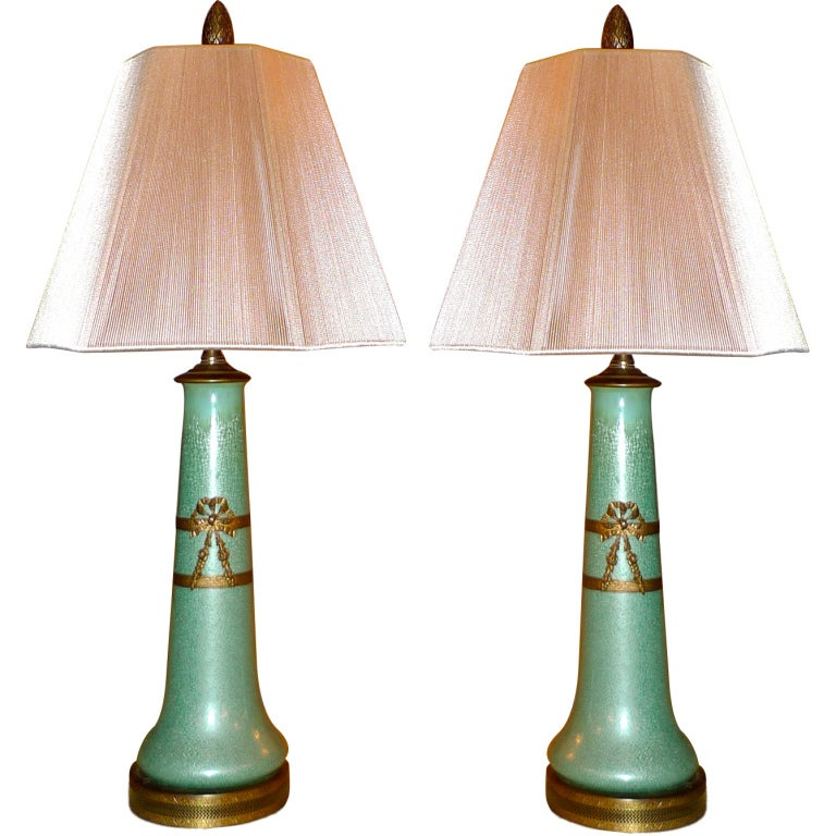 Pair of French Ormolu-Mounted Celadon Enamel Vases as Lamps