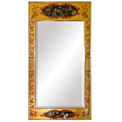 La Barge Reverse Painted and Gilt Rectangular Mirror