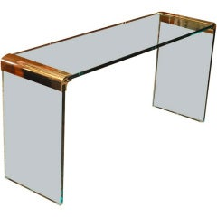 1970's Pace Collection Console with Brass Mounts