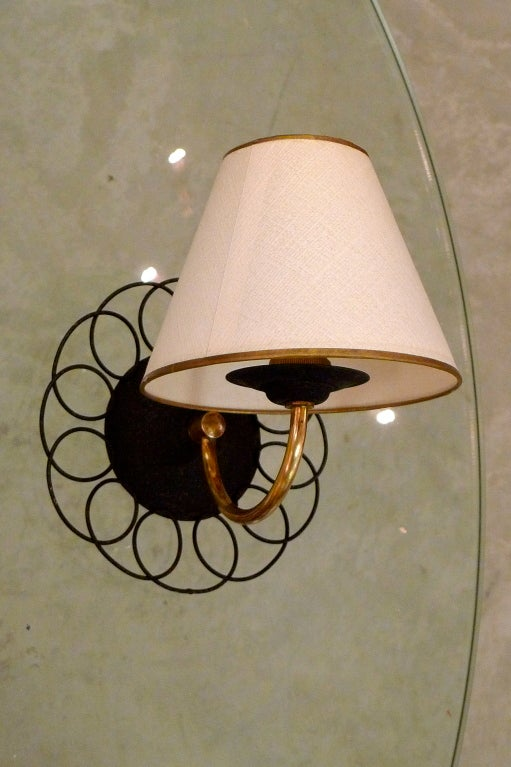 Two Pair of Petite French Wire & Brass Sconces After Royere 4