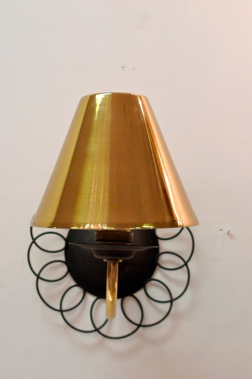 Two Pair of Petite French Wire & Brass Sconces After Royere 5