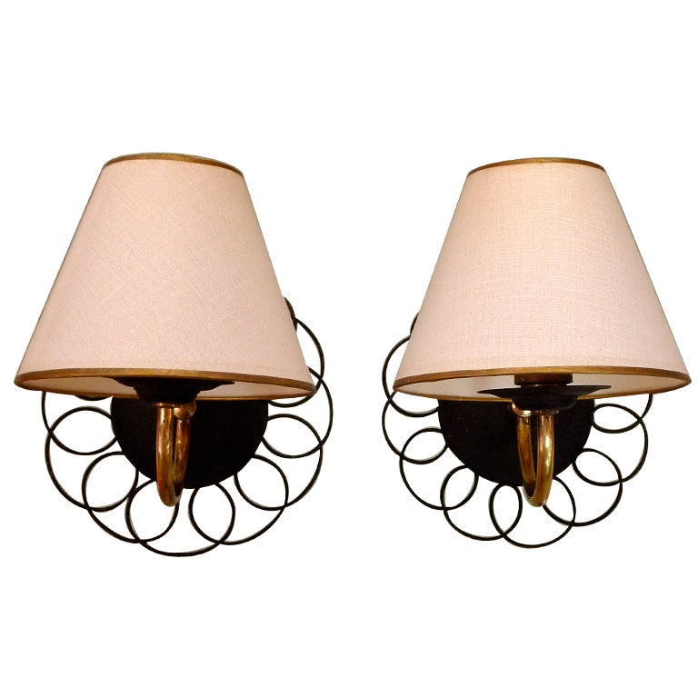 Three Pairs of Petite French Wire & Brass Sconces After Royere