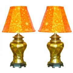 Pair of Vintage Brass Twisted Vase Form Lamps