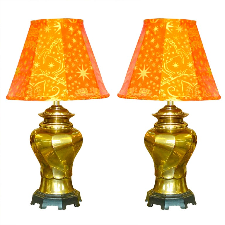 Pair of Vintage Brass Twisted Vase Form Lamps For Sale