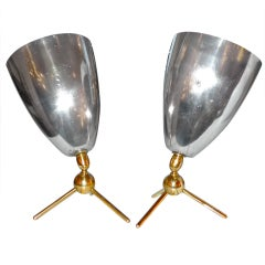 Pair of French 1950's Adjustible Tripod Lamps by Disderot