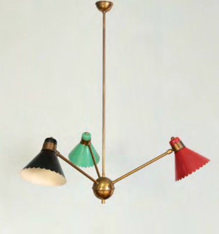 1950s italian 3 arm chandelier at 1stdibs mid 20th century 1950s italian 3 arm chandelier for sale aloadofball Image collections