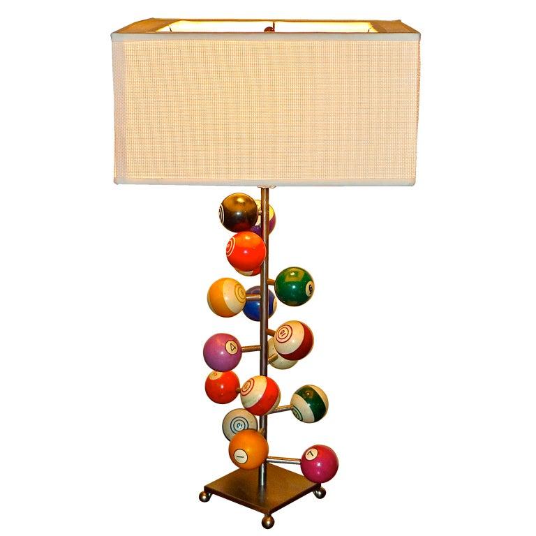 Rack Em Billiard Ball Pool Table Light: Vintage Billiard Ball Table Lamp At 1stdibs