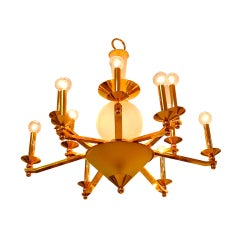 Brass & Frosted Glass Chandelier
