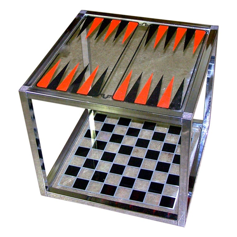 Vintage Chrome Game Table Backgammon And Chess Checkers