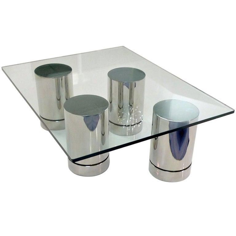 Set of 4 Chrome Cylinder Pedestals or Table Bases at 1stdibs