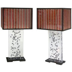 Pair of Bullet Hole Riddled Salvaged Security Window Lamps