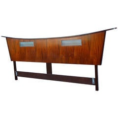 Modernist King Size Pagoda Headboard with Illuminated Panels