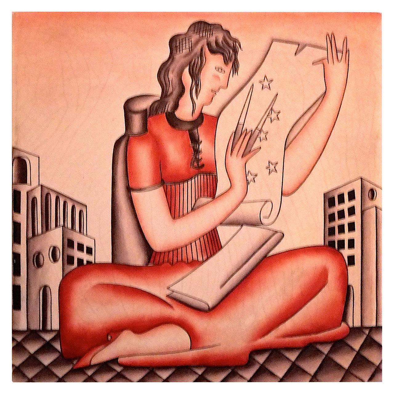 "1930's Gio Ponti Tile ""The Astronomer"" for Richard Ginori"