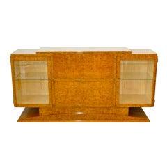 French Art Deco Burl Walnut Sideboard Bar