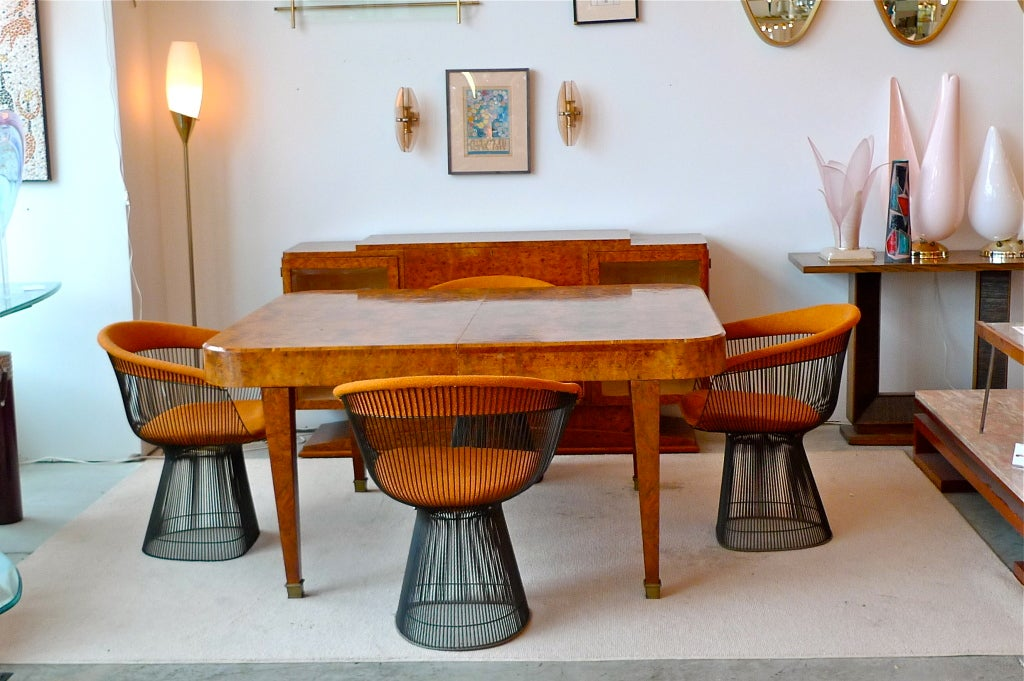French art deco walnut dining table at 1stdibs - Art deco dining room table ...