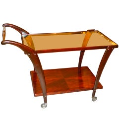 1950's Italian Mahogany Bar Cart