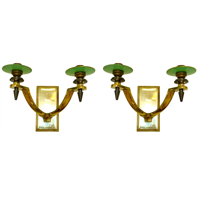 Pair of French Art Deco Bronze & Gunmetal Sconces