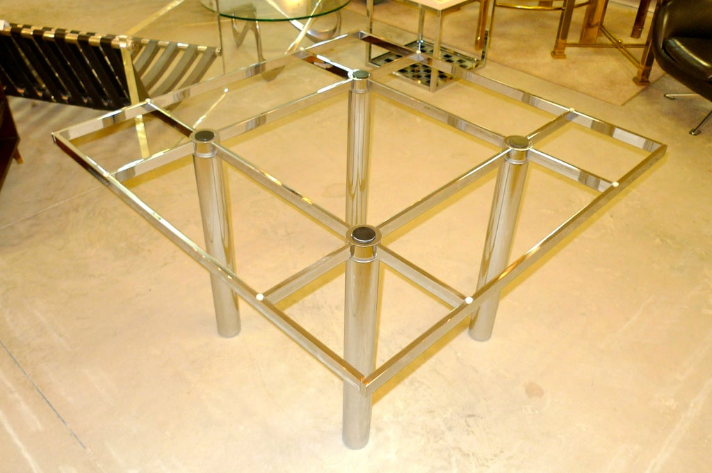 Chrome 'Andre' Square Dining Table by Tobia Scarpa for Knoll For Sale
