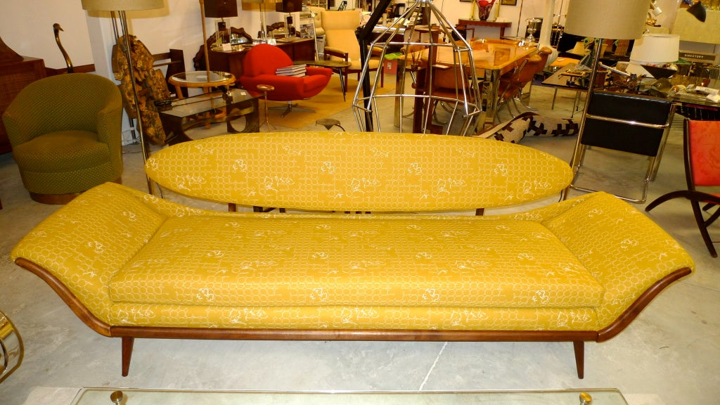 Mid-Century Modern Surfboard-Back Gondola Sofa For Sale