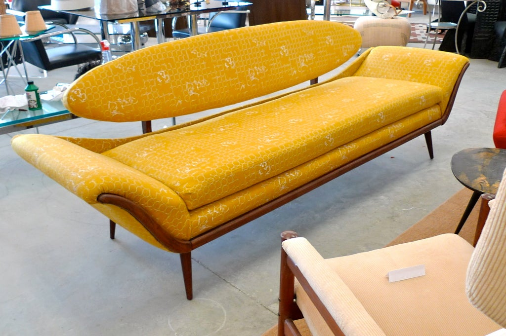 Danish Surfboard-Back Gondola Sofa For Sale