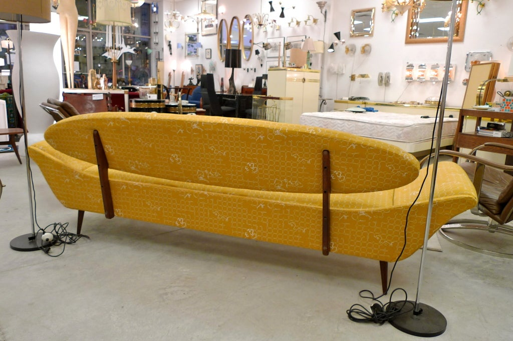 Wool Surfboard-Back Gondola Sofa For Sale