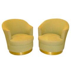 Pair of Karl Springer Barrel Back Swivel Lounge Chairs