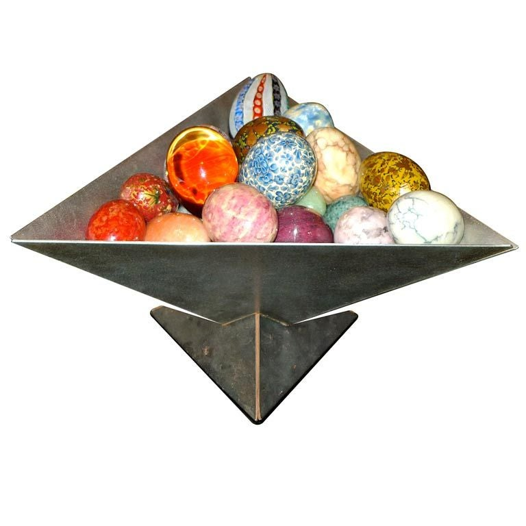 Art Metal Puzzle Bowl by Simon Maltby with Eggs