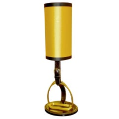 Equestrian Stitched Leather & Brass Lamp by Longchamps