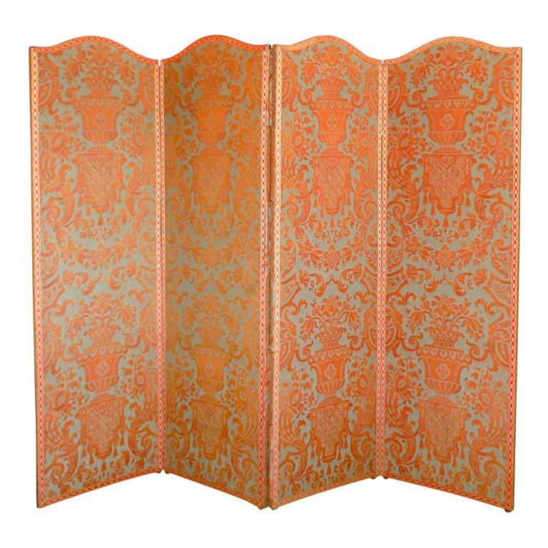 Vintage Fortuny 'Carnavalet' 4 Panel Double Sided Screen