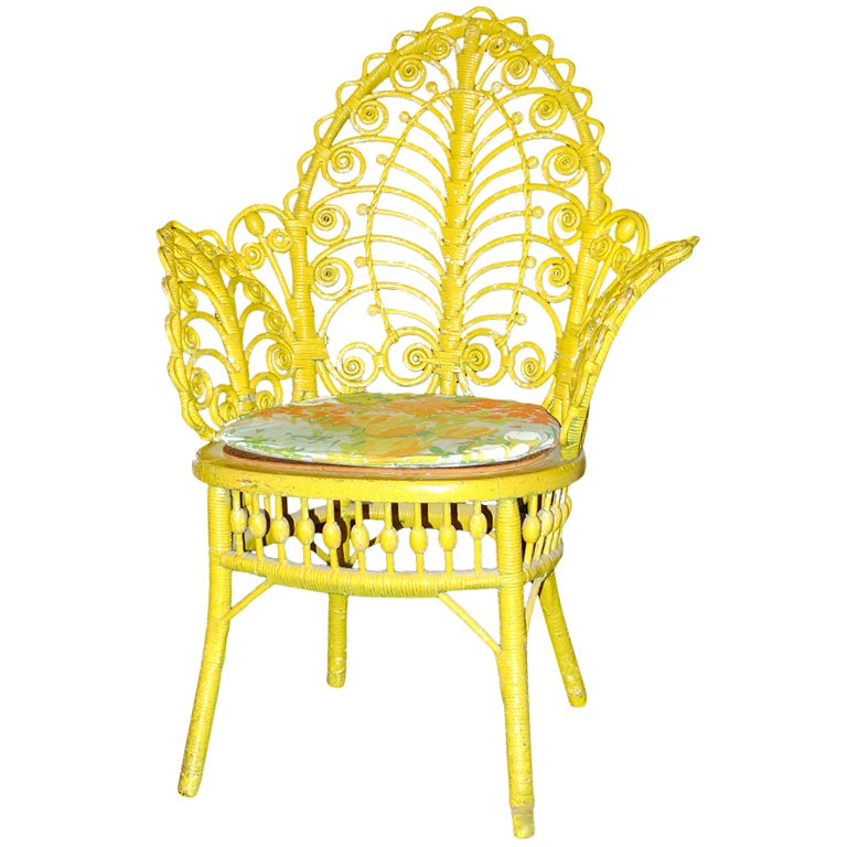 antique yellow painted wicker fiddelhead chair at 1stdibs