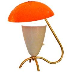 1950's Italian Orange Flowerpot Lamp