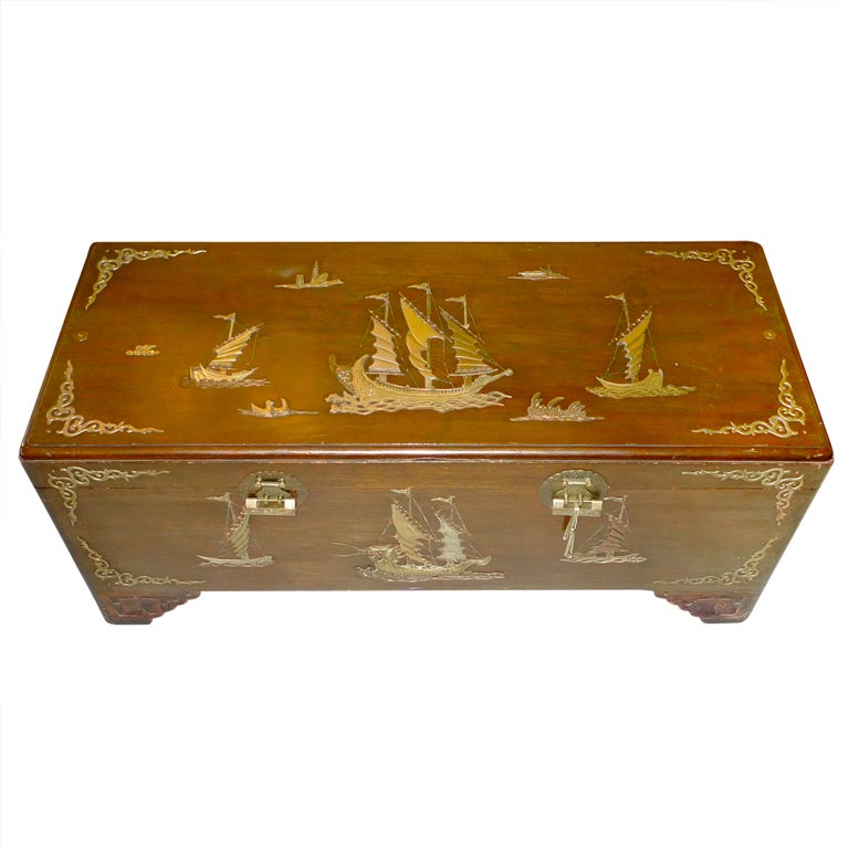 Vintage hong kong camphor seamans trunk with brass inlay for Oriental furniture hong kong