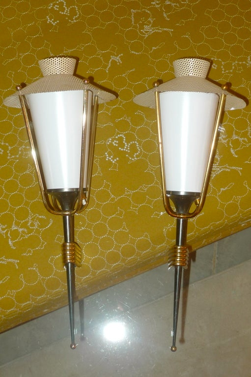 Pair of French 1950's Gunmetal Lantern Sconces by Arlus In Good Condition For Sale In Hingham, MA