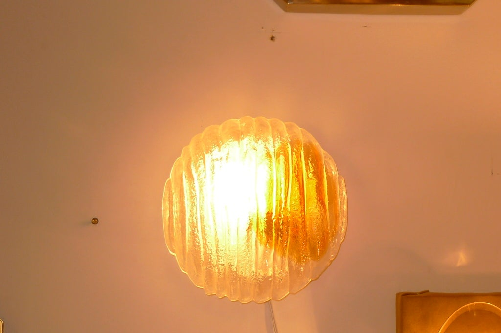 Textured Glass Sconce or Flushmount by Mazzega For Sale at 1stdibs