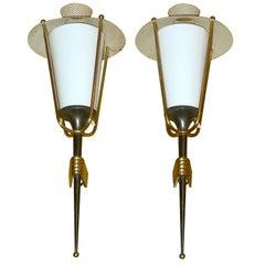Pair of French 1950's Gunmetal Lantern Sconces by Arlus